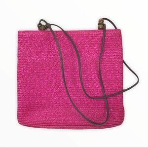 Magid | Dark Pink Wheat Straw Leather Handbag